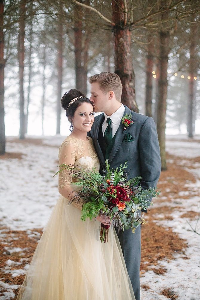 Winter Couple | Winter Wedding in Minnesota Woodlands | B. Photography