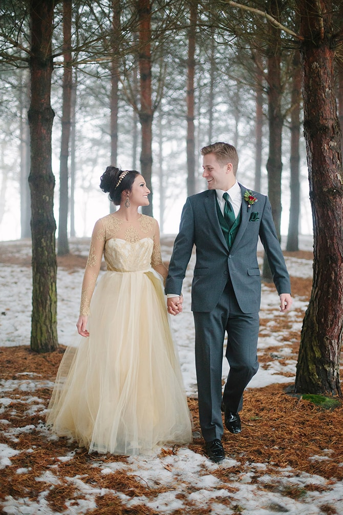 Wedding couple in woods | Winter Wedding in Minnesota Woodlands | B. Photography