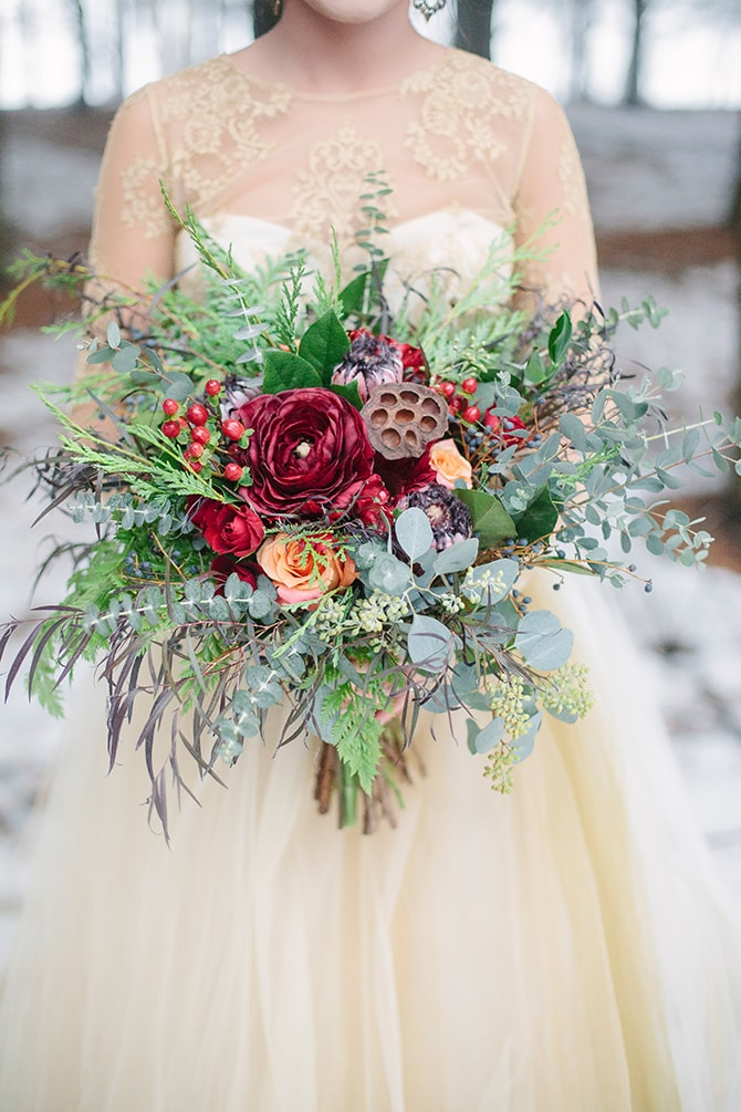 Winter Bridal Bouquet | Winter Wedding in Minnesota Woodlands | B. Photography
