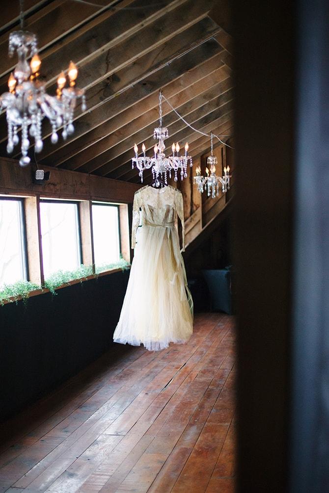 Bridal Dress | Winter Wedding in Minnesota Woodlands | B. Photography