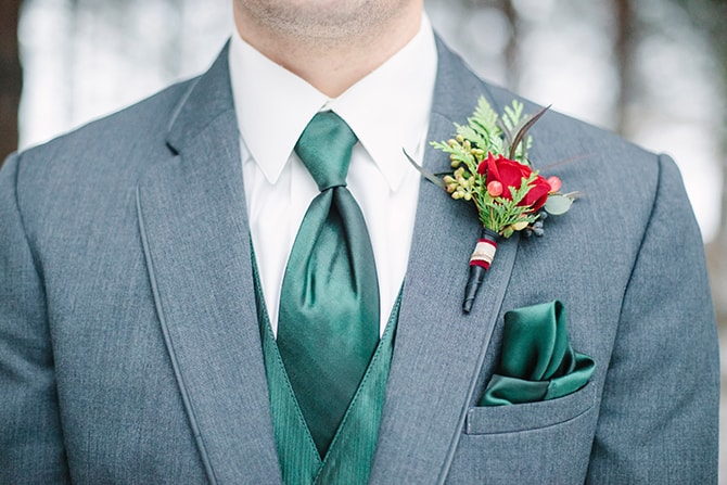 Emerald Mens Style | Winter Wedding in Minnesota Woodlands | B. Photography