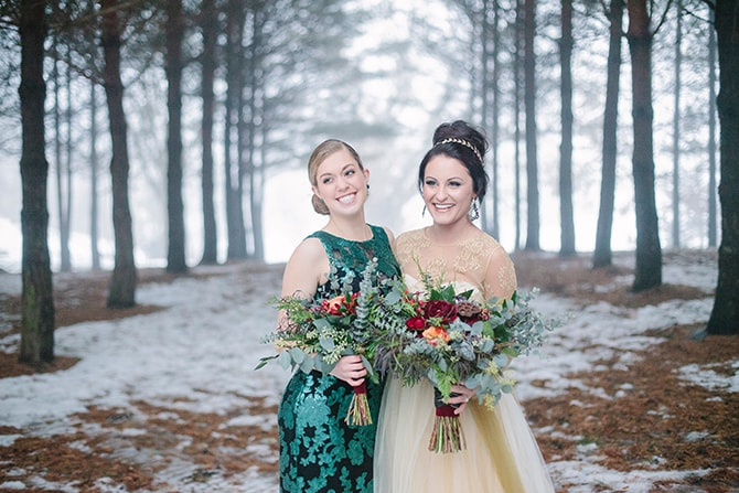 Bride and Bridesmaid | Winter Wedding in Minnesota Woodlands | B. Photography
