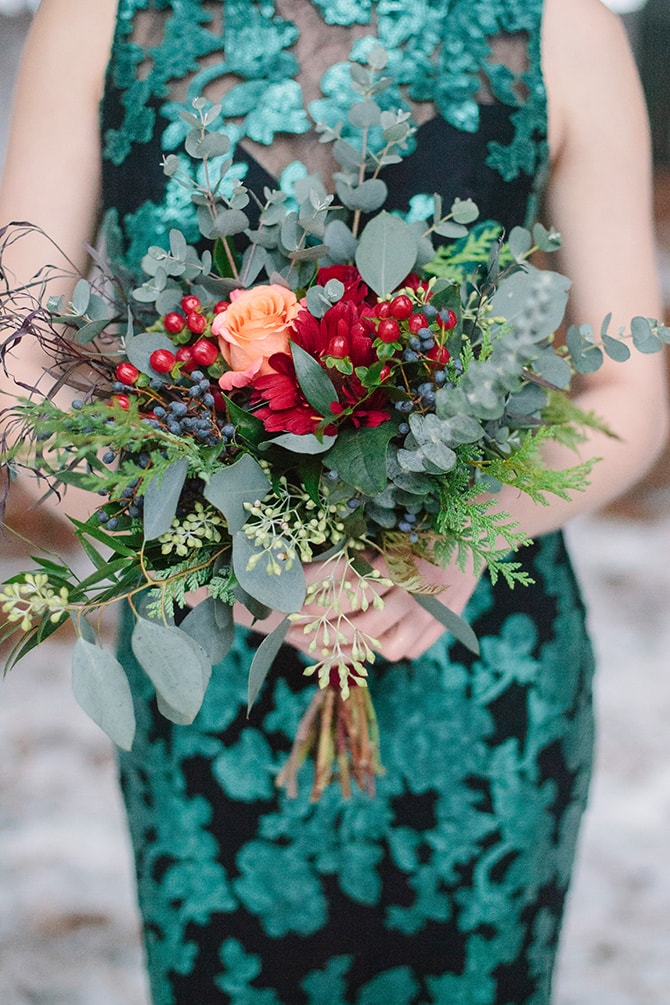 Winter Bridesmaid Bouquet | Winter Wedding in Minnesota Woodlands | B. Photography