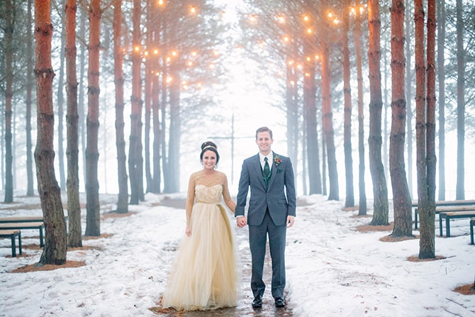 Woodland wedding | Winter Wedding in Minnesota Woodlands | B. Photography