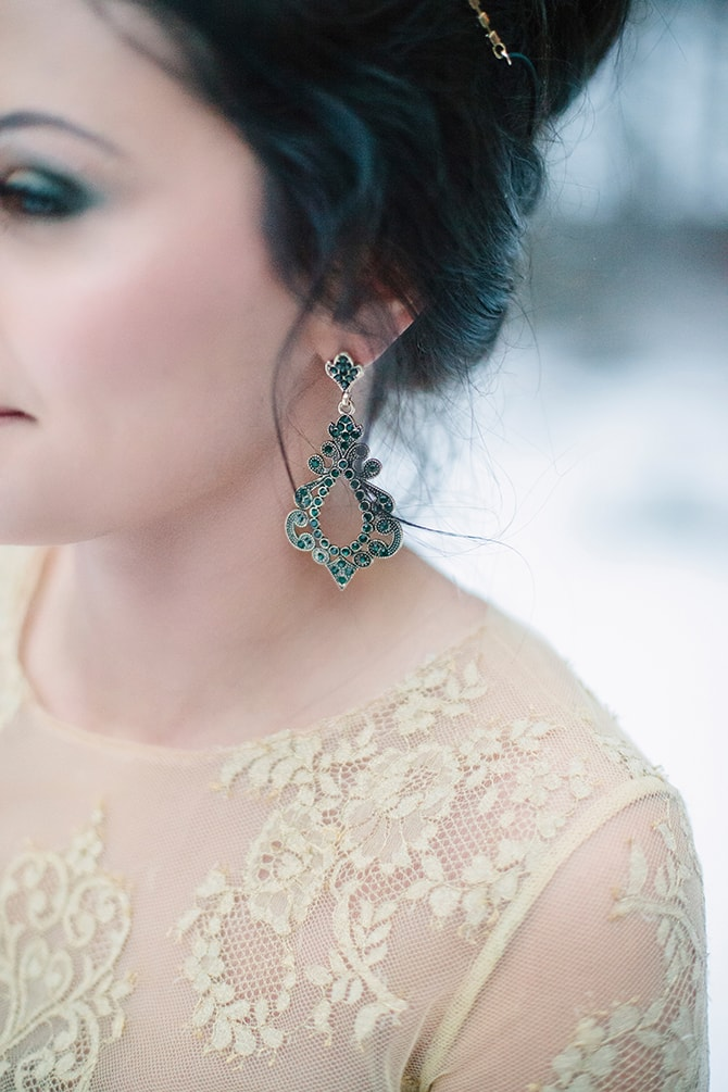 Intricate Bridal Earrings | Winter Wedding in Minnesota Woodlands | B. Photography