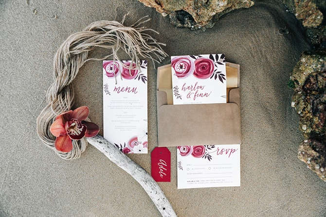 Red Floral Wedding Stationery | Coastal Vagabond Inspiration | Shae Estella Photo