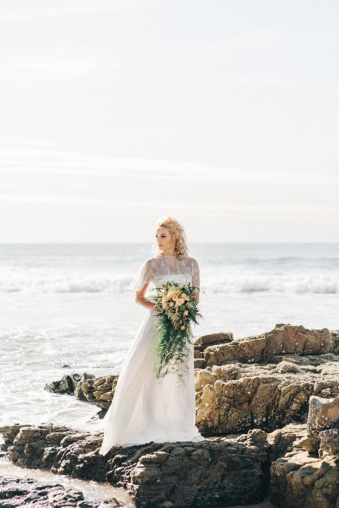 Bride on beach | Coastal Vagabond Inspiration | Shae Estella Photo