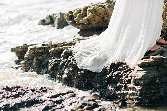 Bride on rocks | Coastal Vagabond Inspiration | Shae Estella Photo