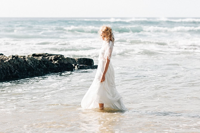 Bride in sea | Coastal Vagabond Inspiration | Shae Estella Photo