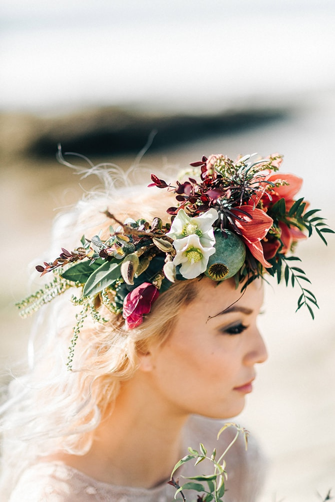 Boho Floral Bridal Crown | Coastal Vagabond Inspiration | Shae Estella Photo