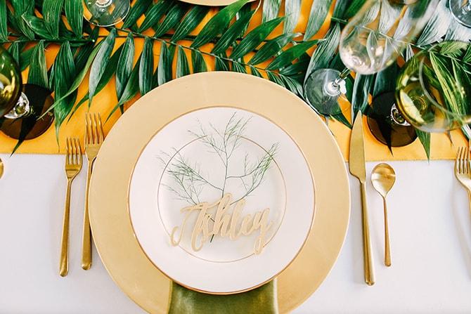 Gold Wedding Plate | Fern and Foliage Wedding Decor | Hawkeye Photography