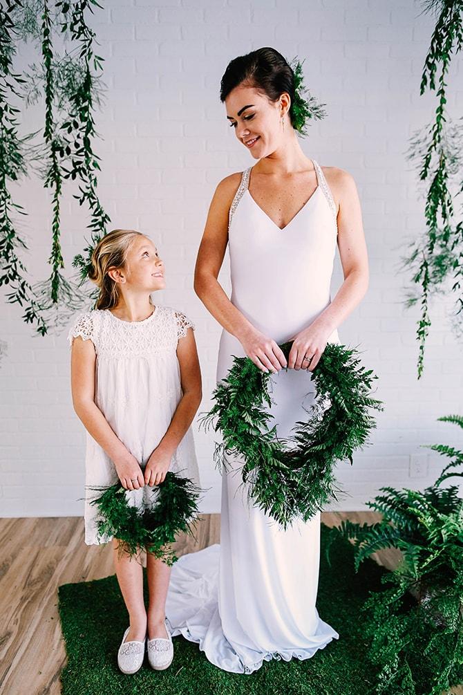 Bride and Bridesmaid | Fern and Foliage Wedding Decor | Hawkeye Photography