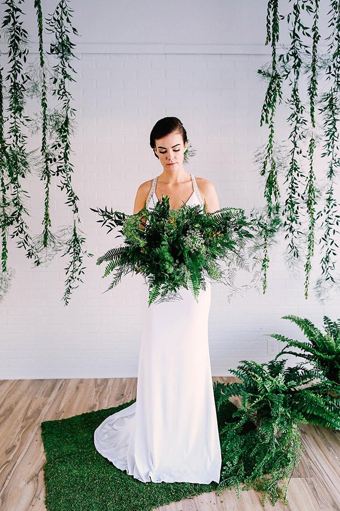 Large green bridal bouquet | Fern and Foliage Wedding Decor | Hawkeye Photography