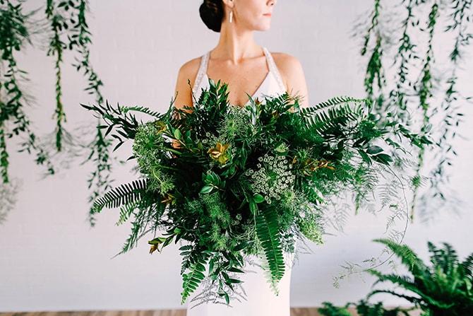 Foliage Wedding Bouquet | Fern and Foliage Wedding Decor | Hawkeye Photography