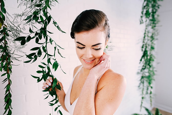 Bride in nature | Fern and Foliage Wedding Decor | Hawkeye Photography