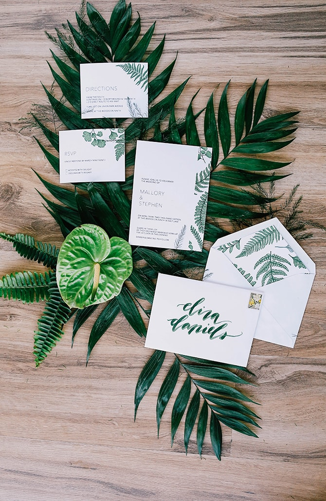 Palm wedding stationery | Fern and Foliage Wedding Decor | Hawkeye Photography