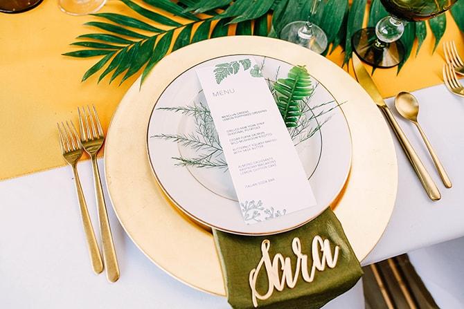 Palm Design Wedding Menu | Fern and Foliage Wedding Decor | Hawkeye Photography