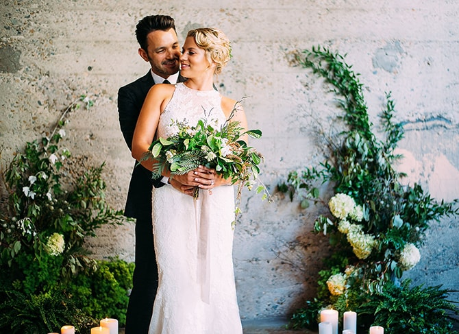Bride and Groom with Bouquet | Hidden City Garden | Fogamp Dawn Photography