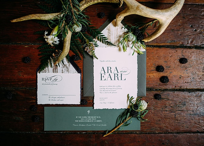 Green Wedding Stationery | Hidden City Garden | Fogamp Dawn Photography