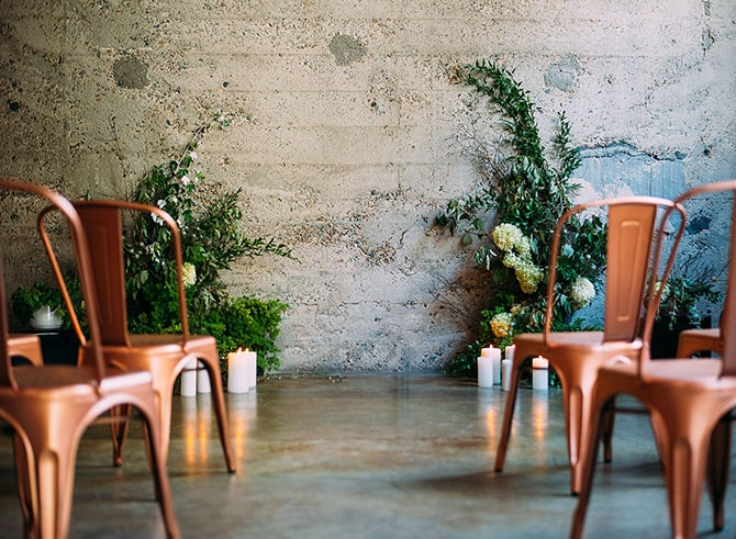 Copper Wedding Ceremony Chairs | Hidden City Garden | Fogamp Dawn Photography