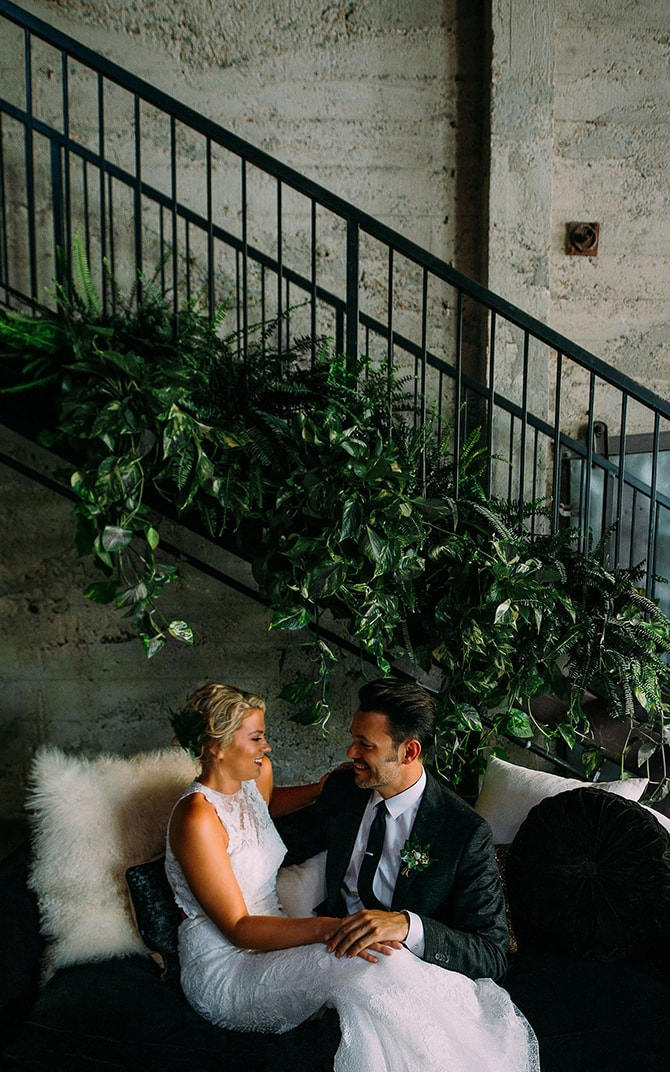 Bride and Groom at urban venue | Hidden City Garden | Fogamp Dawn Photography