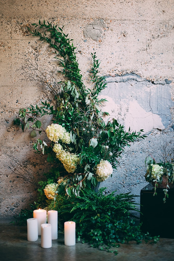 Wedding Plant Backdrop | Hidden City Garden | Fogamp Dawn Photography