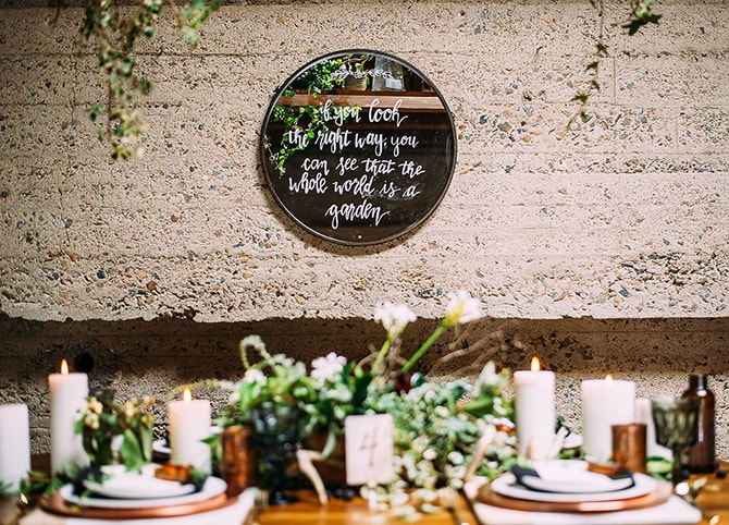 Urban Nature Wedding Decor | Hidden City Garden | Fogamp Dawn Photography