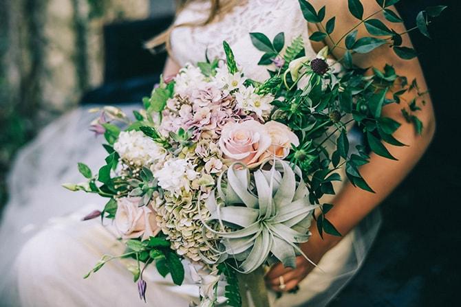 Mixed foliage bridal bouquet | Secret Garden Wedding | Sarah Mattix Photography