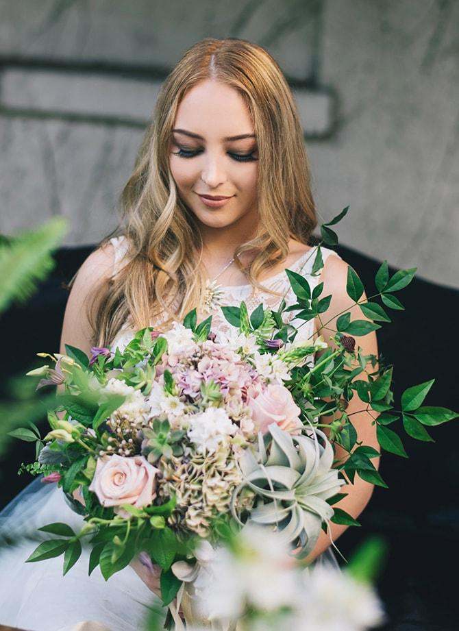Beautiful bride with bouquet | Secret Garden Wedding | Sarah Mattix Photography