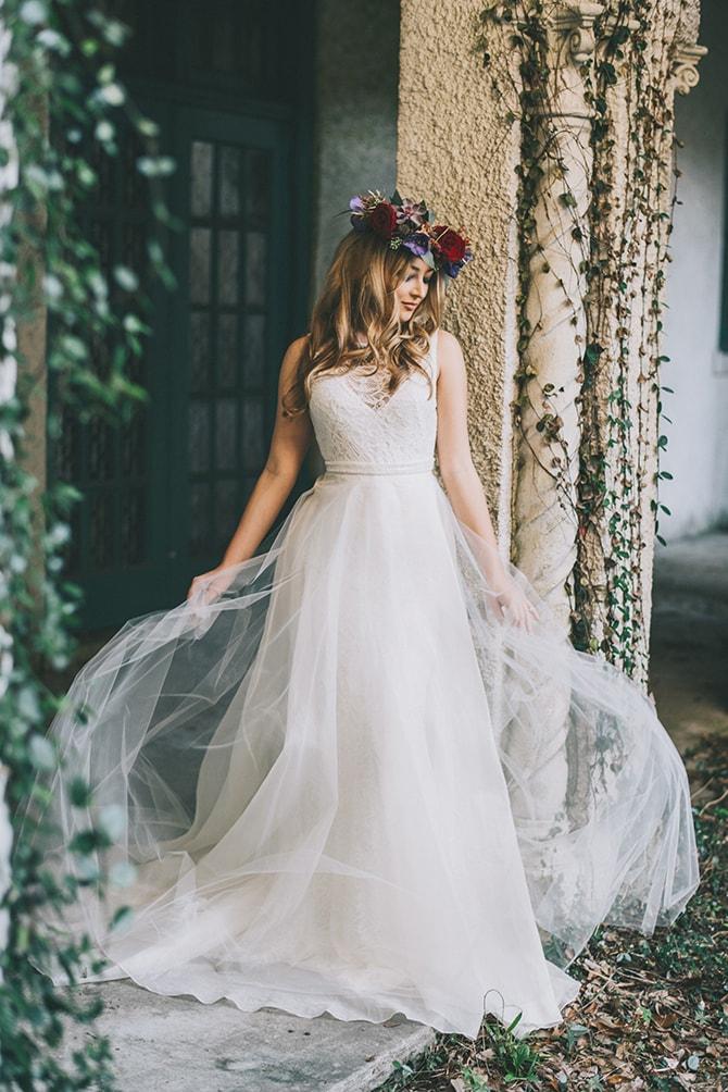 Bride in summer courtyard | Secret Garden Wedding | Sarah Mattix Photography