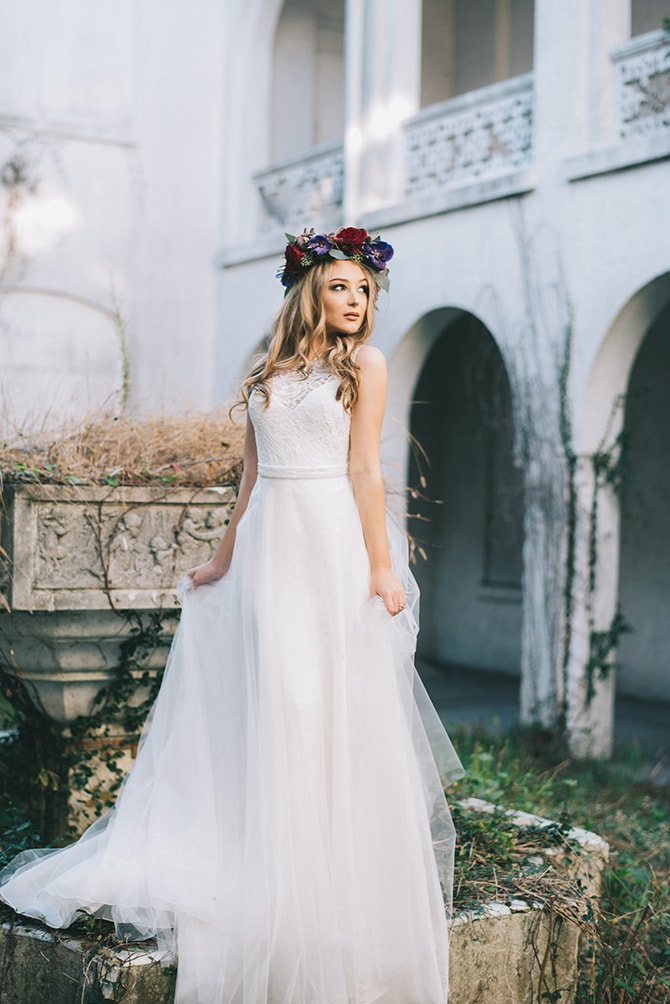 Beautiful bride standing in courtyard | Secret Garden Wedding | Sarah Mattix Photography