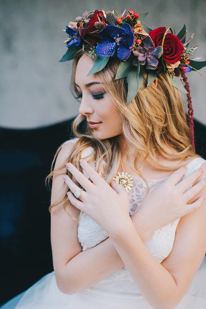 Floral bridal headpiece | Secret Garden Wedding | Sarah Mattix Photography