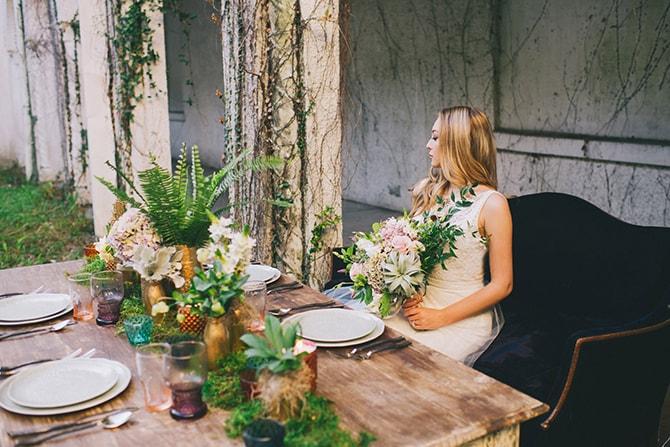 Bride sitting at wedding table | Secret Garden Wedding | Sarah Mattix Photography