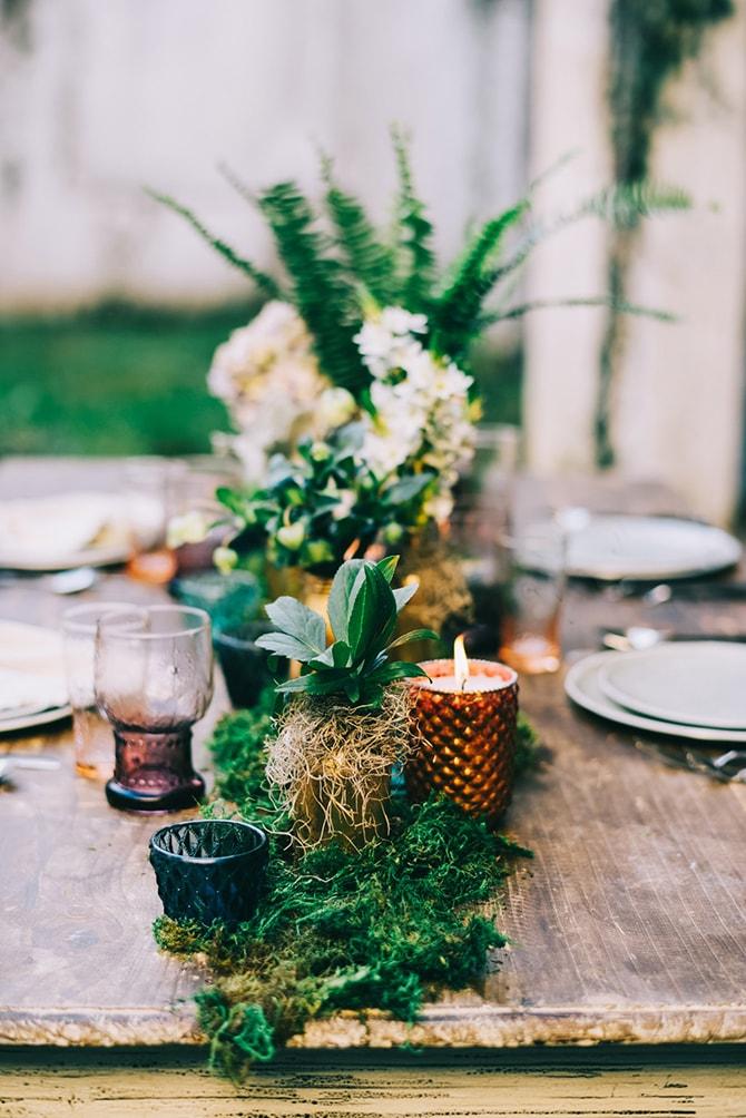 Moss Wedding Table Runner | Secret Garden Wedding | Sarah Mattix Photography