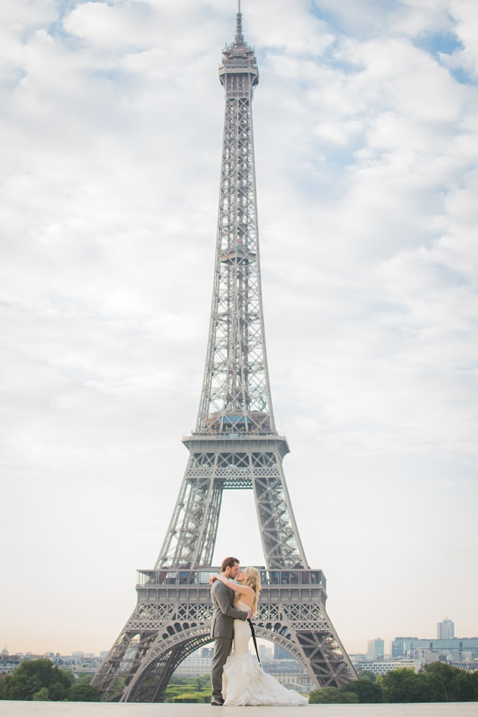Bride and Groom at Eiffel Tower | Vintage Paris Elopement | Paris Photographer Pierre