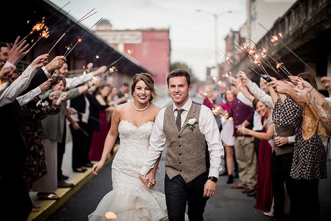 Wedding couple with sparklers | Urban Wedding at Jackson Terminal Train Station | Amanda May Photos