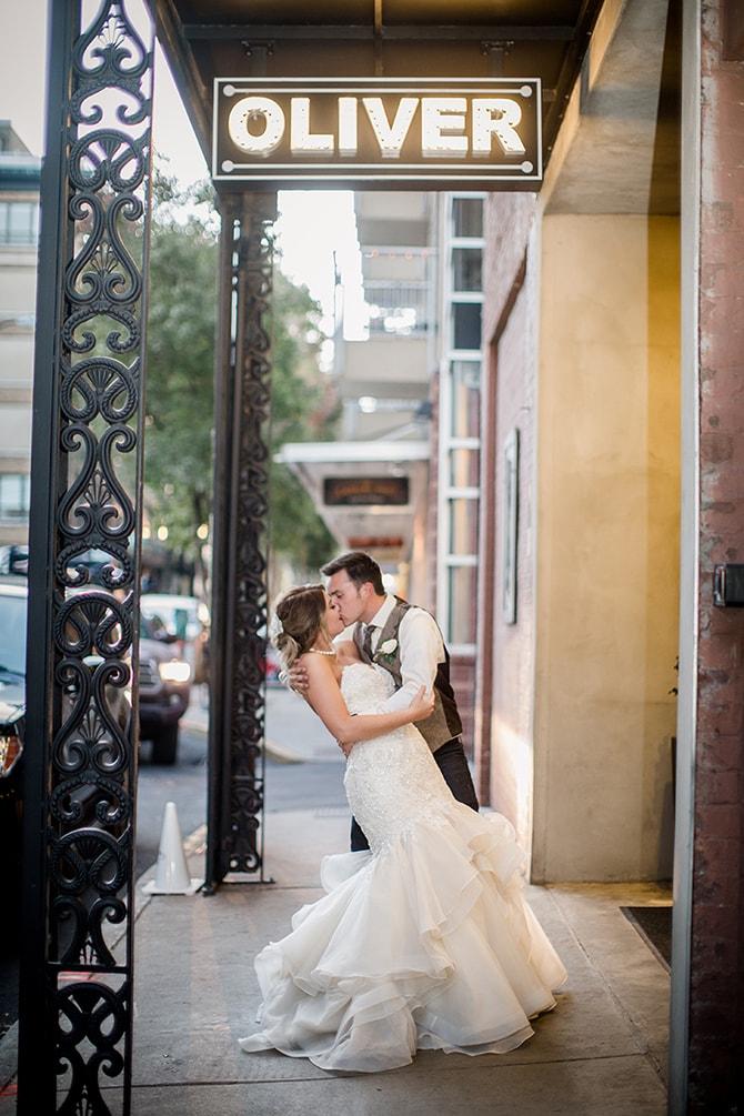 Couple outside Oliver | Urban Wedding at Jackson Terminal Train Station | Amanda May Photos