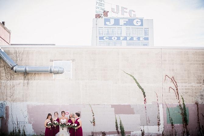 Wedding party with JFG Coffee Building | Urban Wedding at Jackson Terminal Train Station | Amanda May Photos
