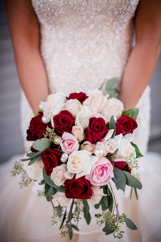 Red, pink, green and white bouquet | Urban Wedding at Jackson Terminal Train Station | Amanda May Photos