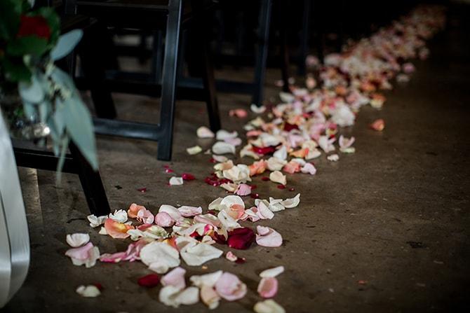 Petal wedding aisle | Urban Wedding at Jackson Terminal Train Station | Amanda May Photos