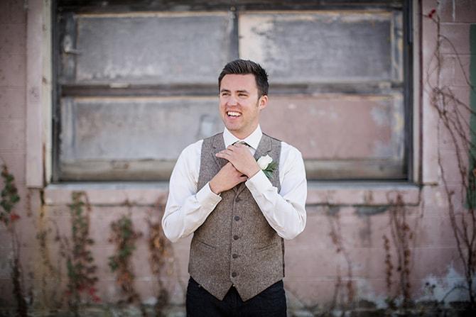 Groom in brown blazer | Urban Wedding at Jackson Terminal Train Station | Amanda May Photos