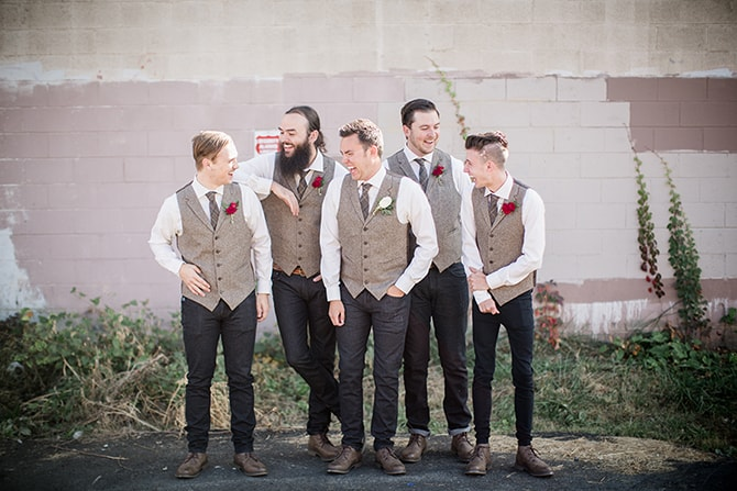 Groomsmen | Urban Wedding at Jackson Terminal Train Station | Amanda May Photos