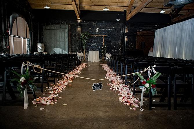Wedding aisle with petals | Urban Wedding at Jackson Terminal Train Station | Amanda May Photos