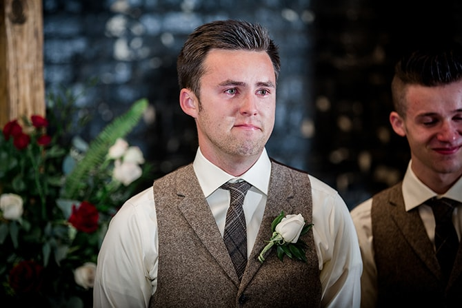 Groom watching bride walk down aisle | Urban Wedding at Jackson Terminal Train Station | Amanda May Photos