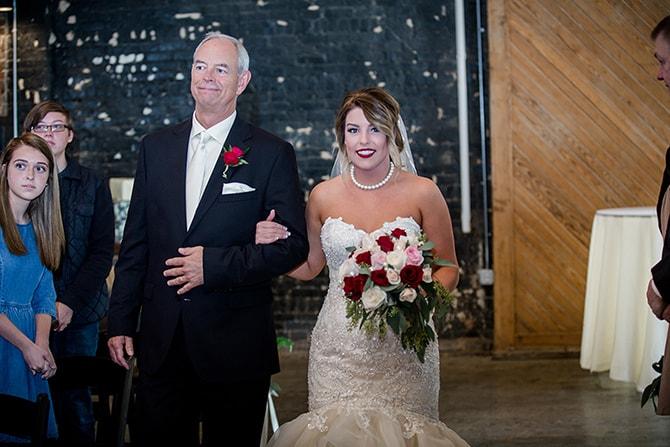 Bride walking down aisle | Urban Wedding at Jackson Terminal Train Station | Amanda May Photos