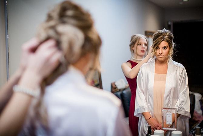 Bride getting ready | Urban Wedding at Jackson Terminal Train Station | Amanda May Photos