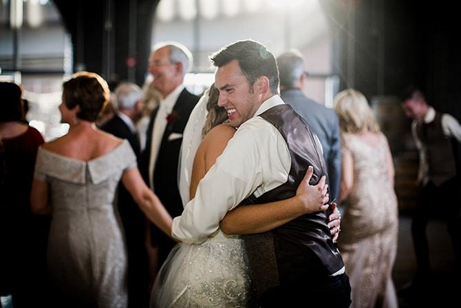 Couple at wedding reception | Urban Wedding at Jackson Terminal Train Station | Amanda May Photos