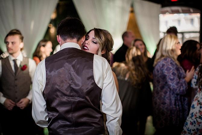 Newlyweds dancing at reception | Urban Wedding at Jackson Terminal Train Station | Amanda May Photos