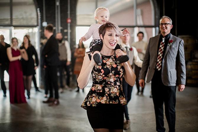Wedding guests at party | Urban Wedding at Jackson Terminal Train Station | Amanda May Photos