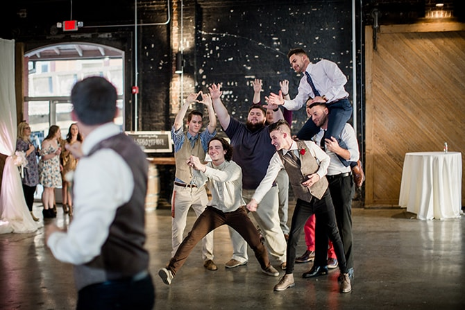Groomsmen dance | Urban Wedding at Jackson Terminal Train Station | Amanda May Photos